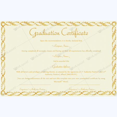 Graduation certificate templates word layouts for Certificate template word 2016