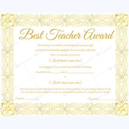 teacher certificate template - best teacher award certificate templates word layouts