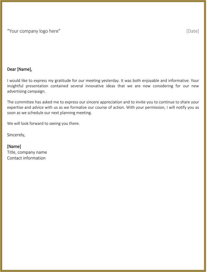 Business Thank You Letter for Meeting