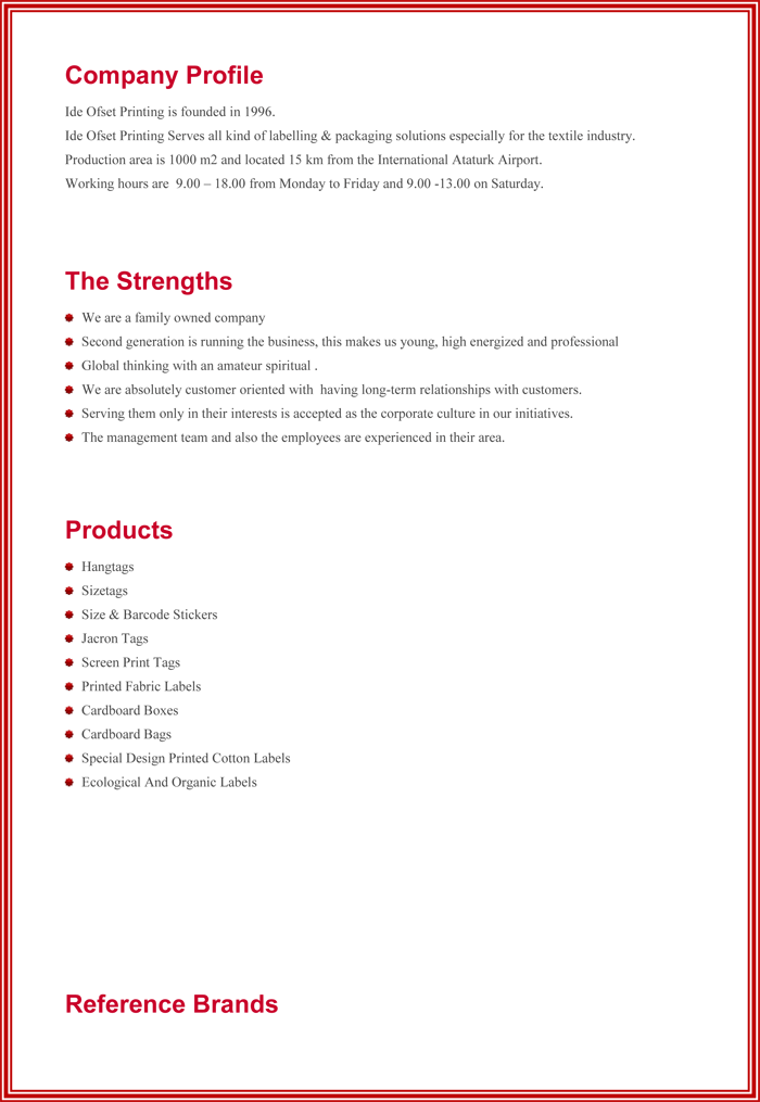 Business profile template word
