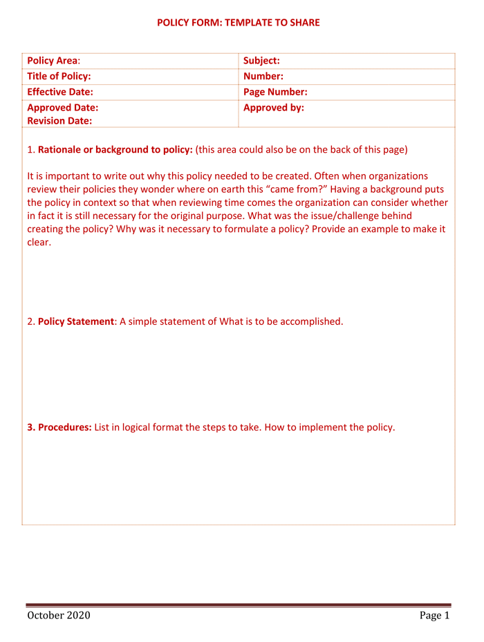 Policy and procedure templates for word and pdf for How to write a procedure manual template