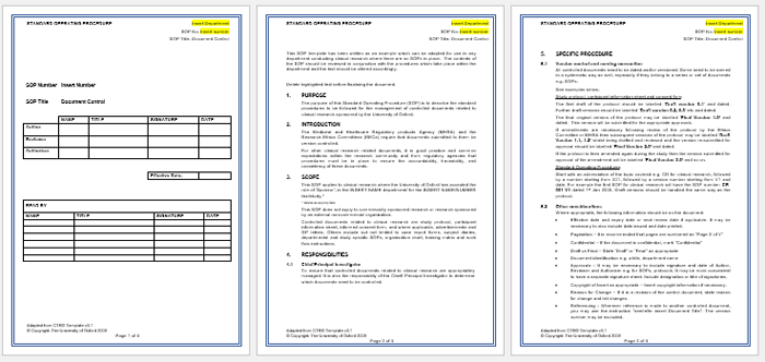 Standard Operating Procedure SOP Templates for Word – Free Standard Operating Procedure Template Word