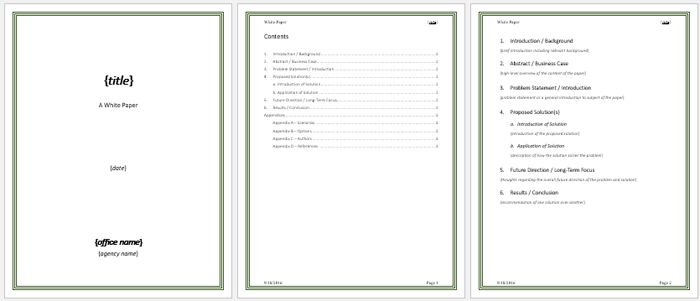 White Paper Templates to help you in formatting your White Papers – White Paper Format Template