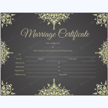 editable marriage certificate
