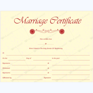 Marriage certificate templates 500 printable designs marriage certificate 36 yadclub Image collections