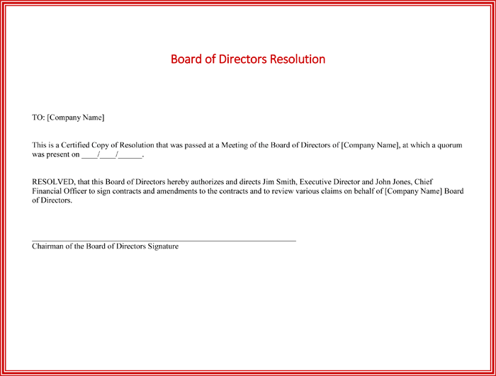 Board resolution templates 4 samples for word and pdf for Letter of resolution template