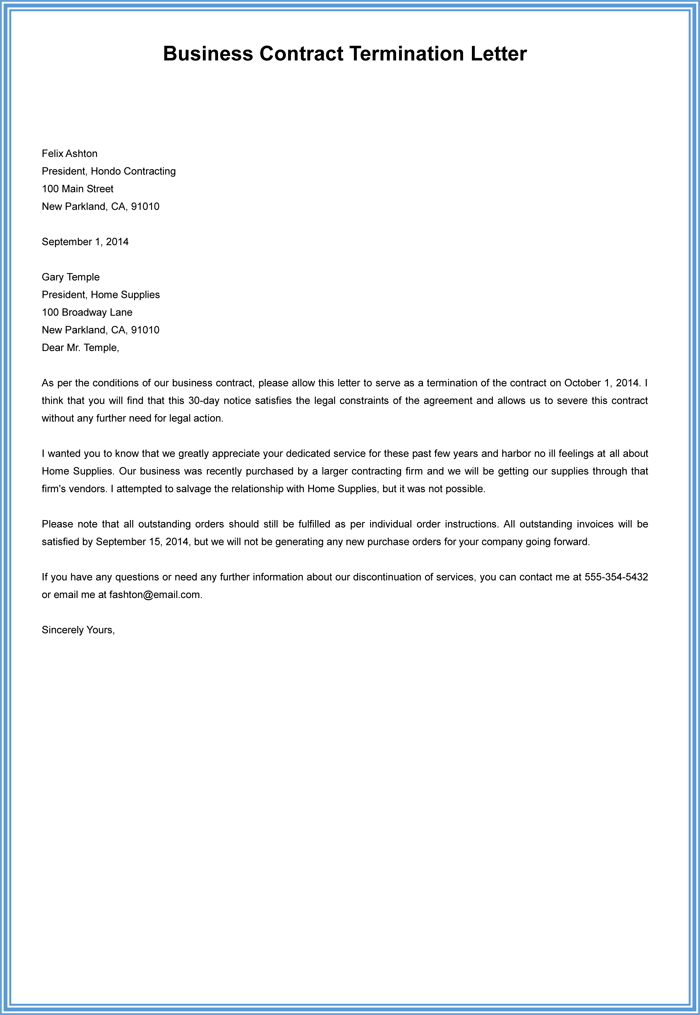 business contract termination letter template - Sample Termination Letter Without Cause