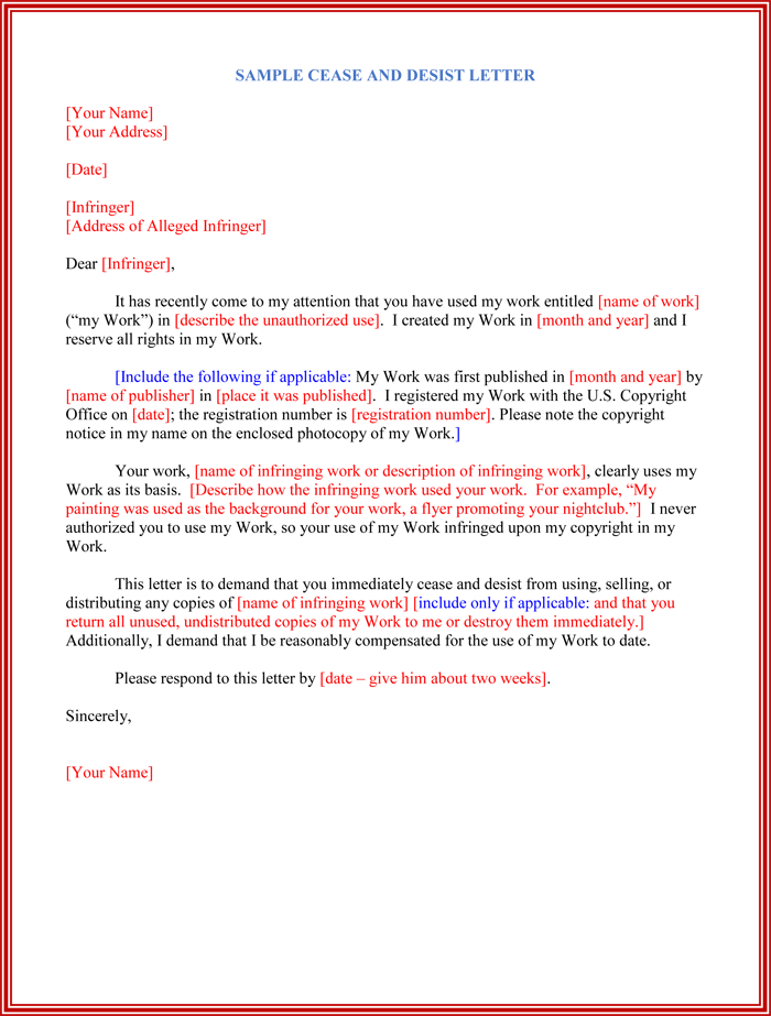 Cease And Desist Letter Template  Cease And Desist Sample Letter