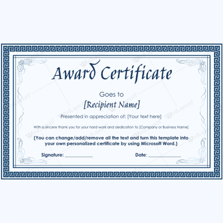 Printable award certificates for microsoft word for Editable certificate template