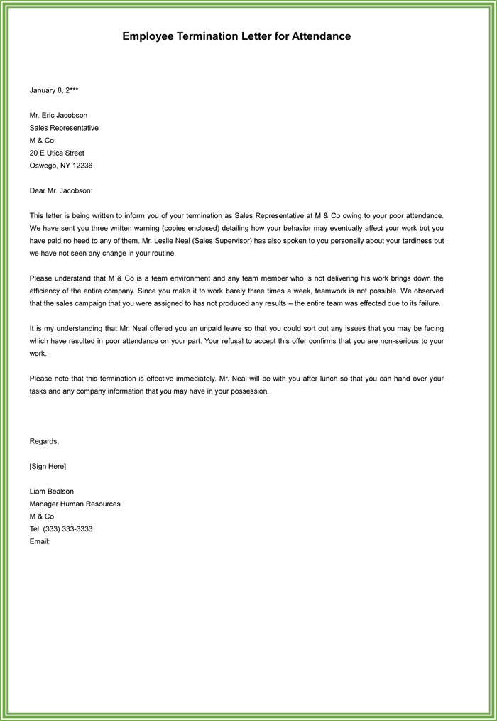 Employment Termination Letter For Attendance  Sample Employee Termination Letter