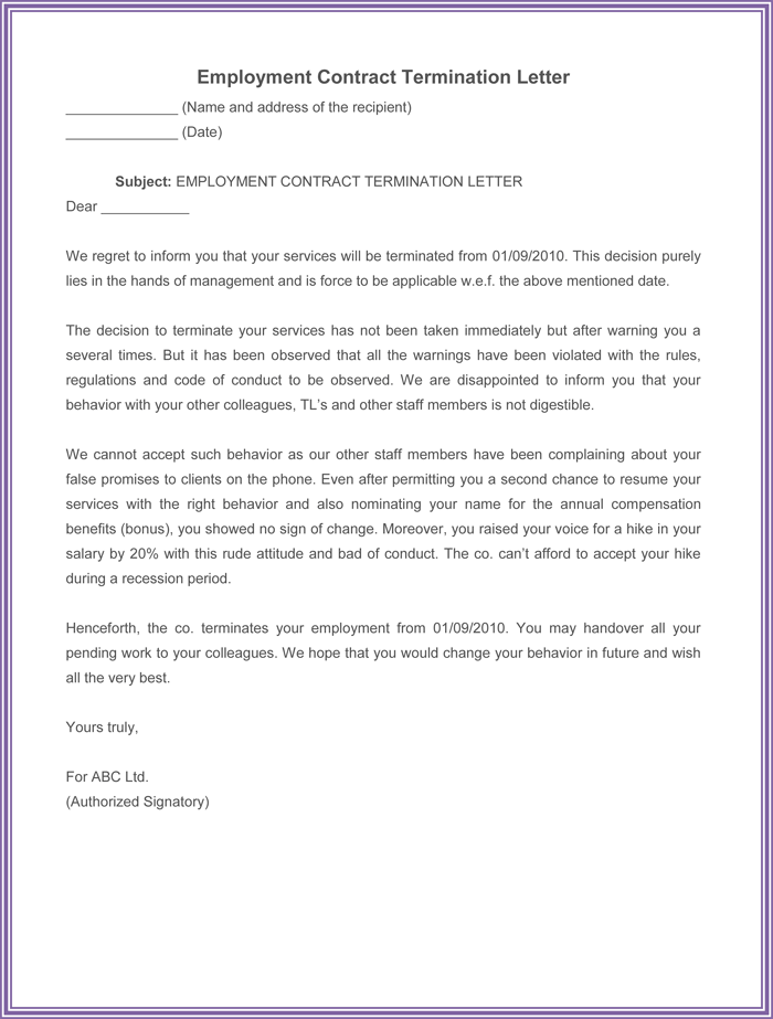 employment contract termination letter - Sample Termination Letter Without Cause