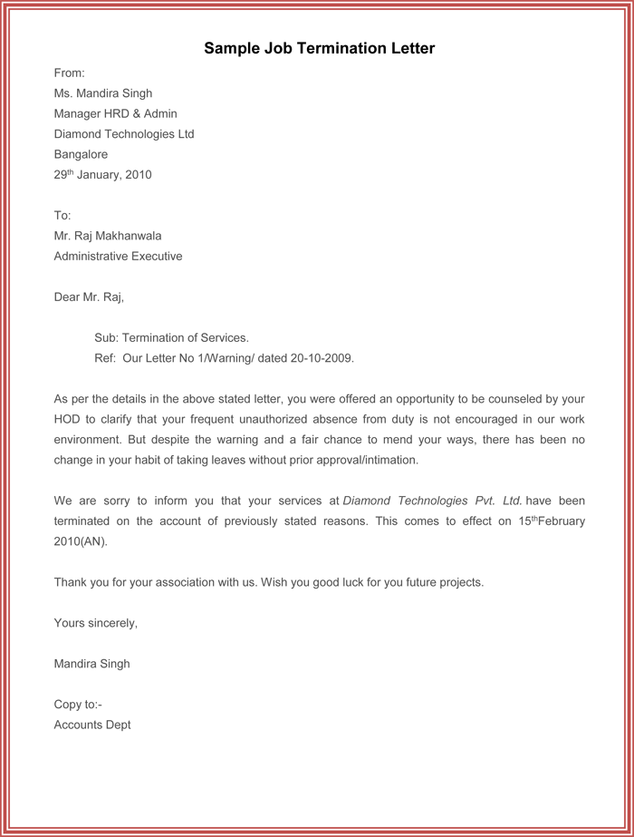 Example Of Job Termination Letter  Employment Letter Sample