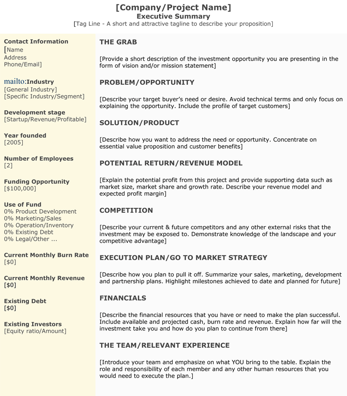 Executive Summary Format  Executive Summary Formats