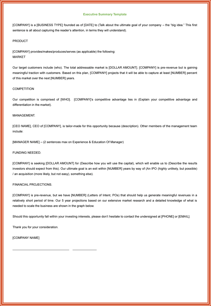 Executive Summary Template,  Management Summary Template