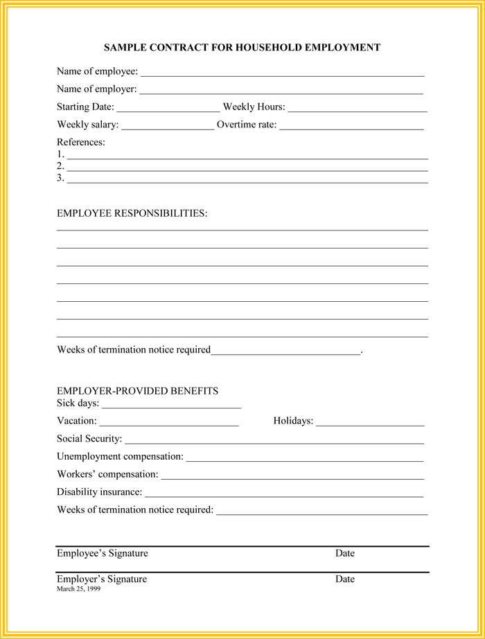Household Employee Termination Letter Template  Letter Of Termination Of Employment Template