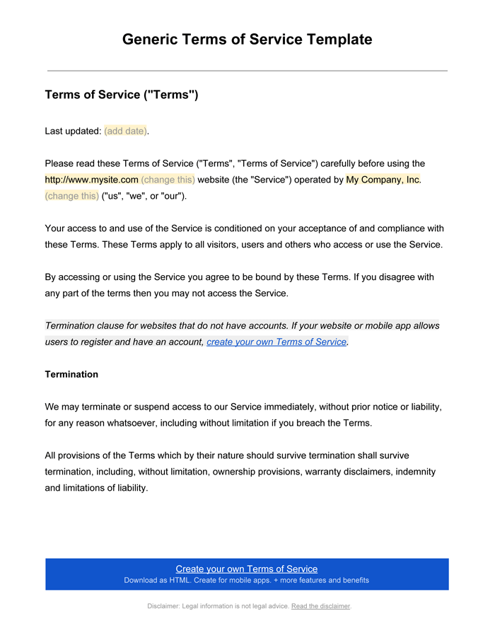Terms and conditions templates to write polices for your for Terms and conditions of service template