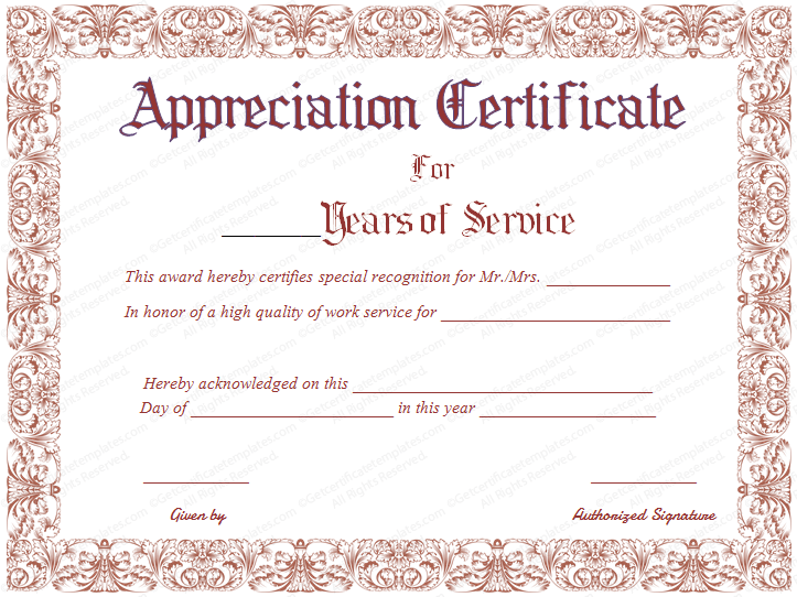 recognition of service certificate template 89 elegant award certificates for business and school events