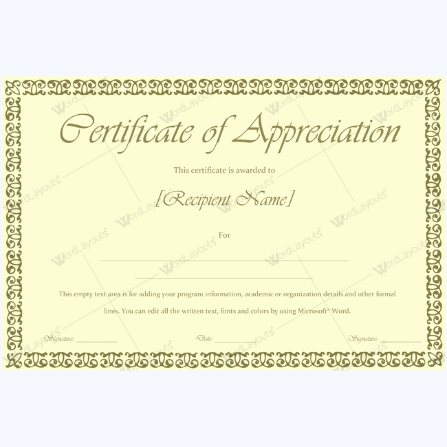 Doc 1024724 certificates of appreciation templates for for Editable certificate template
