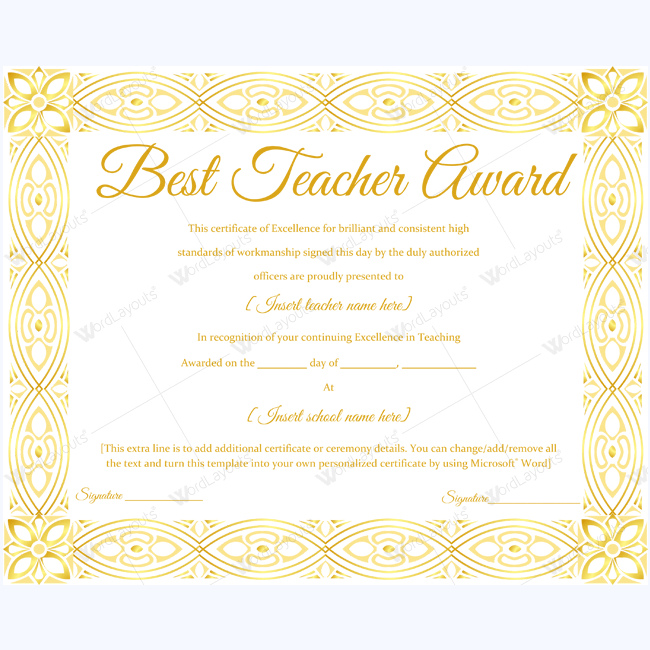 89 Elegant Award Certificates for Business and School Events – Award of Excellence Certificate Template