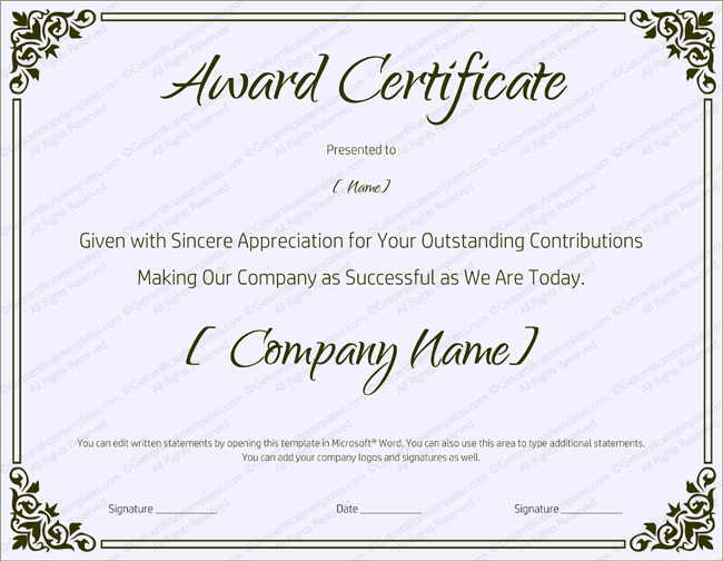 downloadable certificate templates for microsoft word - 89 elegant award certificates for business and school events