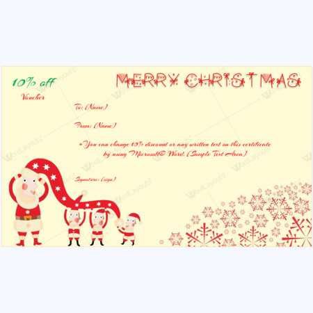 Printable blank Christmas gift voucher template
