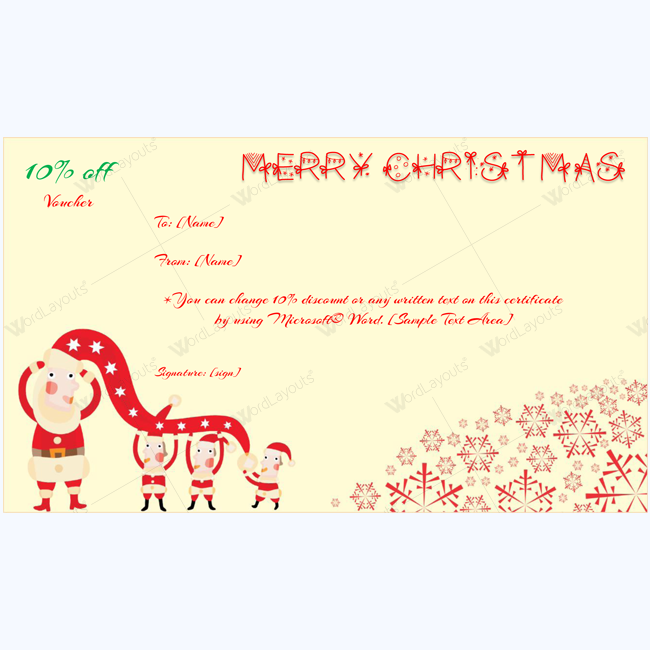 Beautiful Christmas Gift Certificate Template 01 In Christmas Gift Vouchers Templates