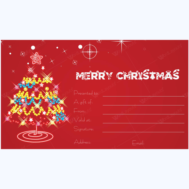 Christmas Tree Gift Certificate Template