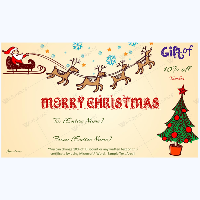 Christmas Spirit Gift Voucher Template Word Word Layouts
