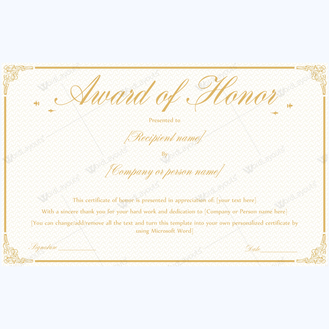 guest of honor certificate template