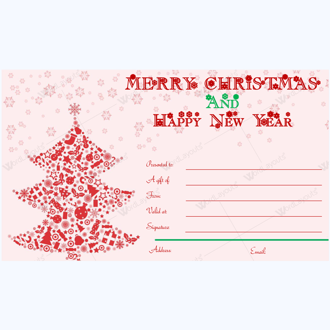 Merry christmas and happy new year card template word layouts christmas gift certificate template 02 yelopaper