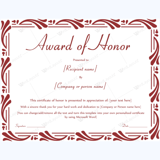 89 elegant award certificates for business and school events printable award of honor certificate templates yelopaper Choice Image