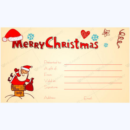 Christmas Gift Certificate Template 01 Word Layouts – Printable Christmas Gift Certificate