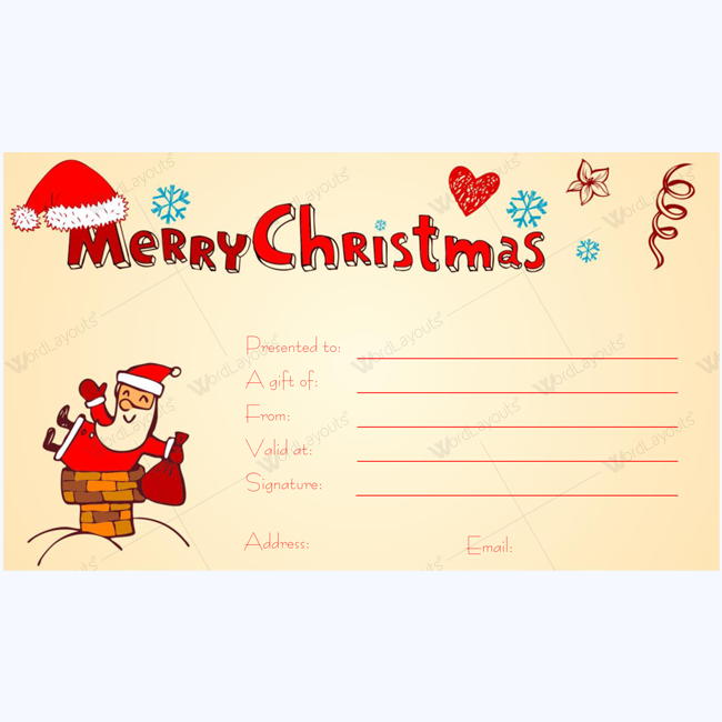 image about Free Printable Christmas Gift Certificates called Xmas Present Certification Template 12