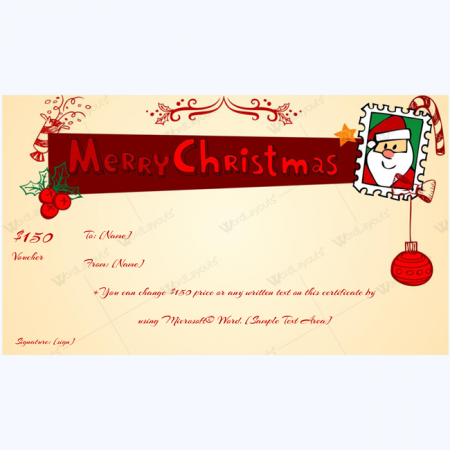Christmas Gift Certificate and Voucher Templates Word Layouts – Santa Gift Certificate Template