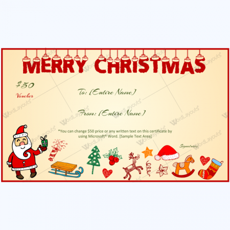 christmas gift certificate and voucher templates word layouts. Black Bedroom Furniture Sets. Home Design Ideas