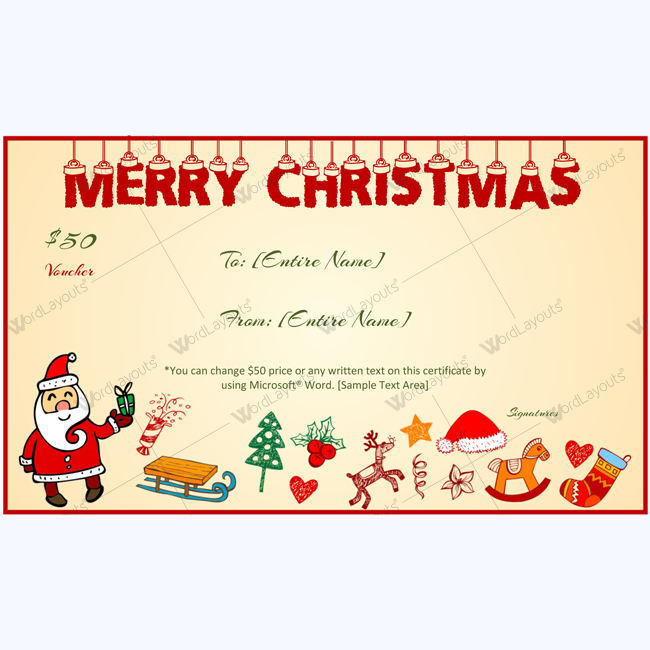 christmas hangings gift certificate template word layouts