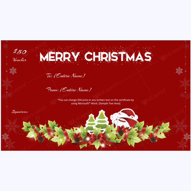 Snowinter Christmas Gift Certificate Template