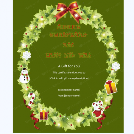 Snowman Christmas Tree Gift Certificate Template
