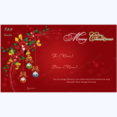 swrils christmas gift certificate template