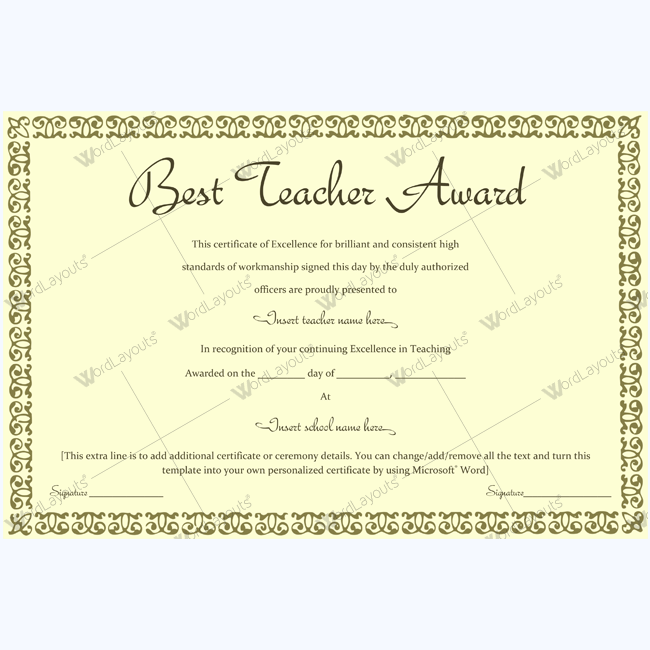 89 elegant award certificates for business and school events award certificate templates for teachers yadclub Choice Image