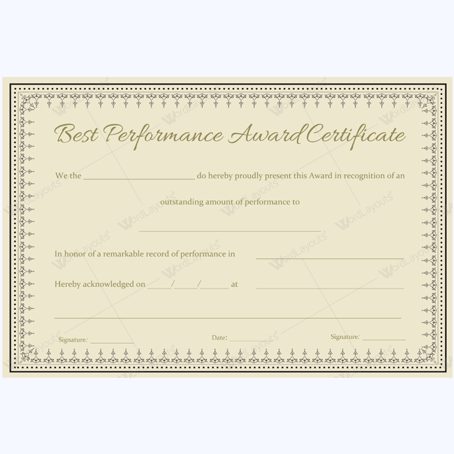 Editable Best Performance Award for Word