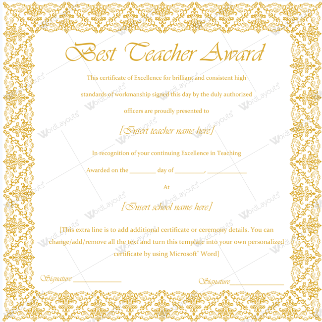 89 elegant award certificates for business and school events best teacher award certificate templates yelopaper Images