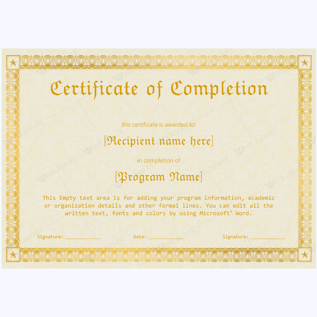 89 elegant award certificates for business and school events for Certificate of completion template word
