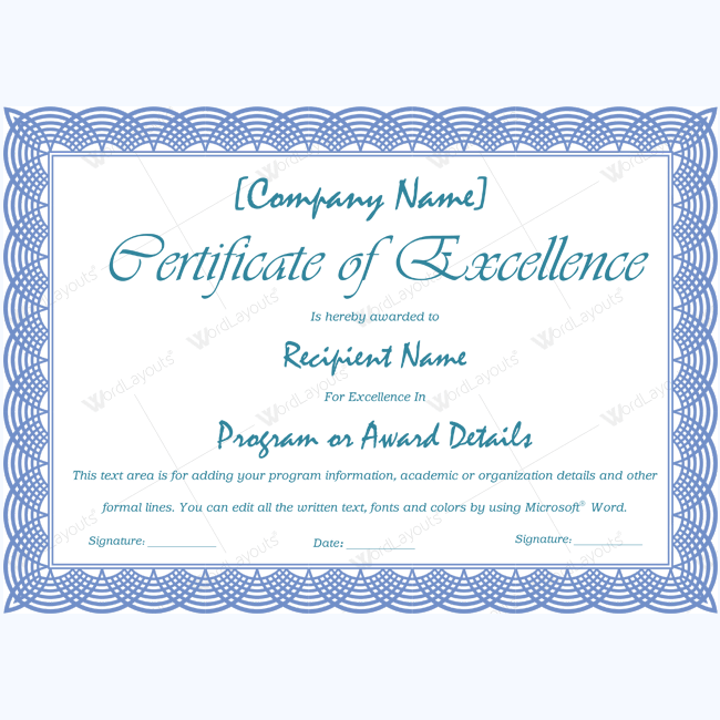 89 elegant award certificates for business and school events for Certificate of excellence template free download word
