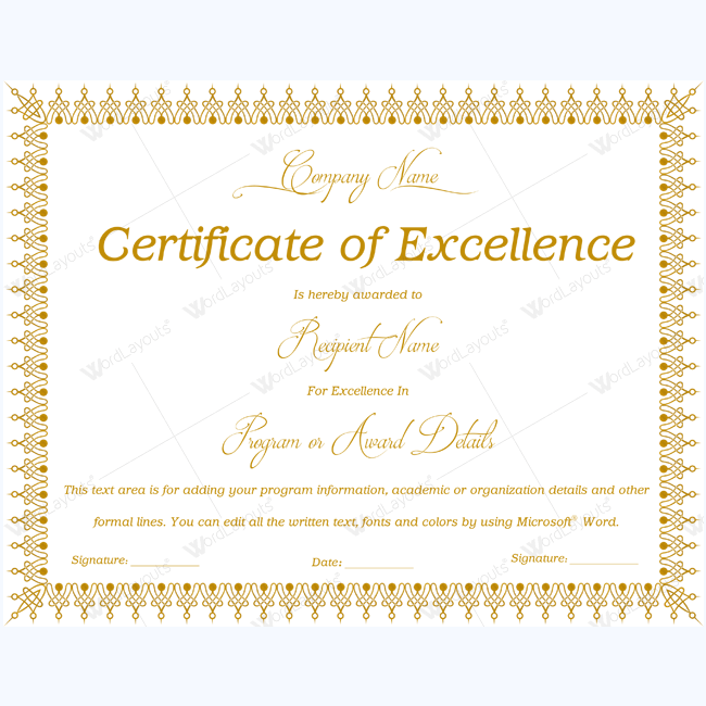 89 Elegant Award Certificates for Business and School Events – Certificate of Excellence Template Word