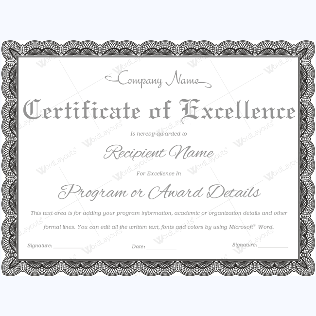 89 elegant award certificates for business and school events for Certificate of excellence template