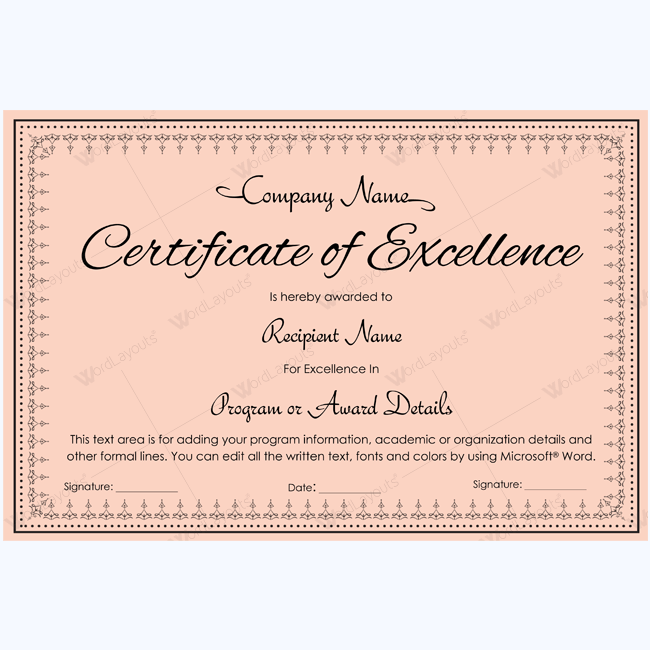award certificate of excellence templates