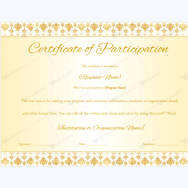 89 elegant award certificates for business and school events for Certificate of participation template