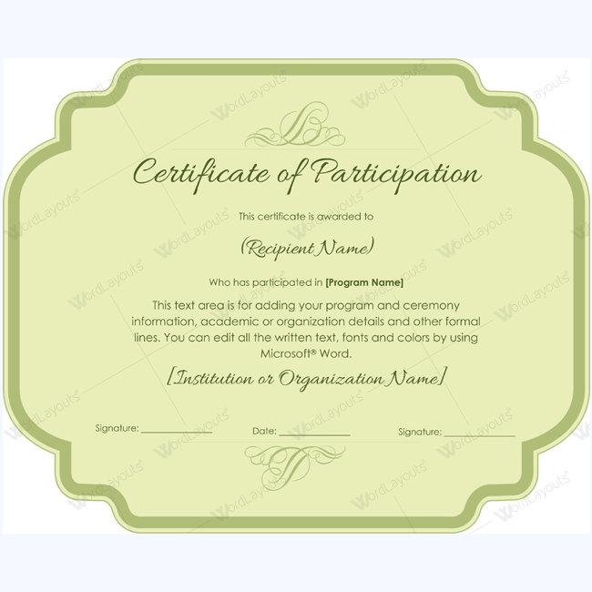 award for participation templates