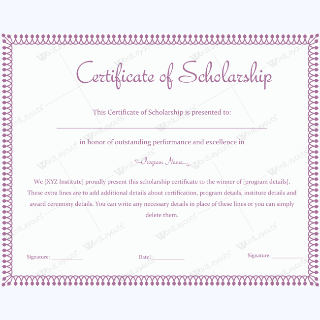 89 elegant award certificates for business and school events editable certificate of scholarship template word yadclub Choice Image